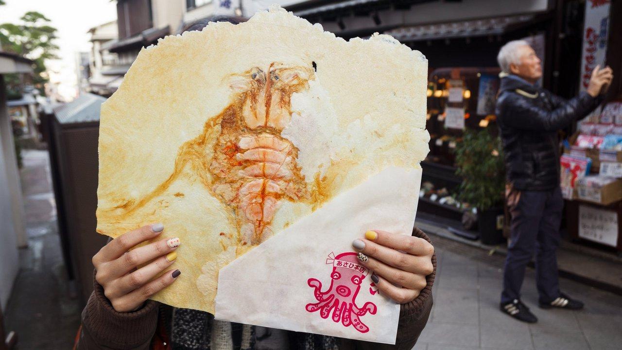 【江之島美食】朝日堂 あさひ 》新鮮海產現做的虎蝦仙貝 1
