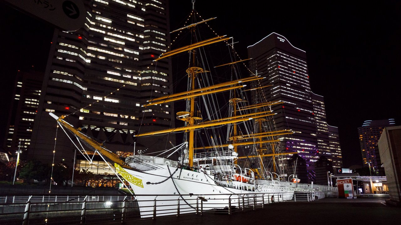 【橫濱景點】橫濱港 夜景 》Landmark Tower 大樓、日本丸帆船、Cosmo World 摩天輪 1