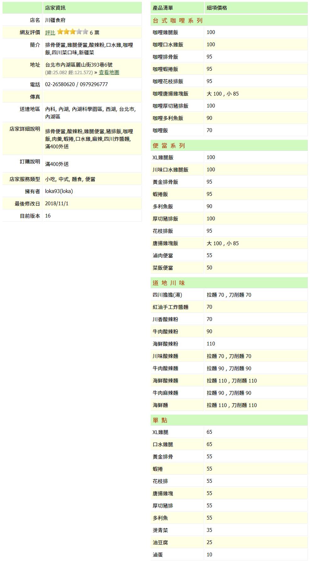 【內湖 訂便當日記】川疆食府 2