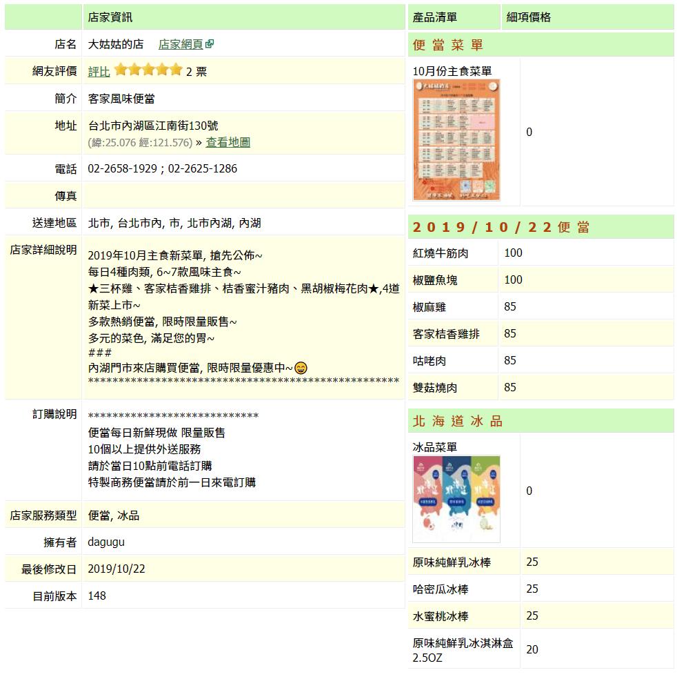 【內湖 訂便當日記】大姑姑的店 2