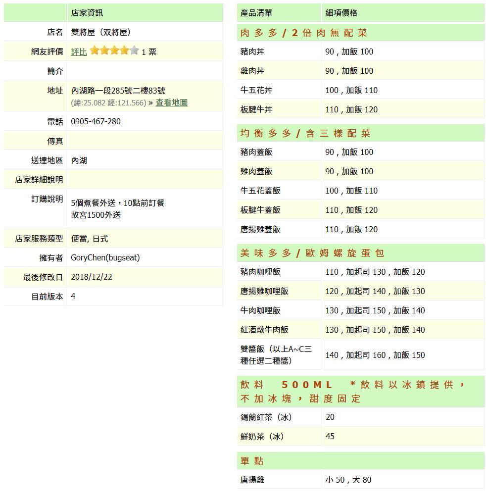 【內湖 訂便當日記】双將屋(雙將屋) 2