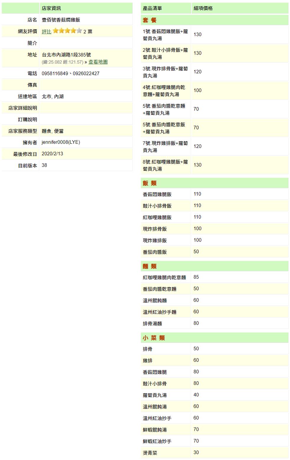 【內湖 訂便當日記】壹佰號香菇燜雞飯 2